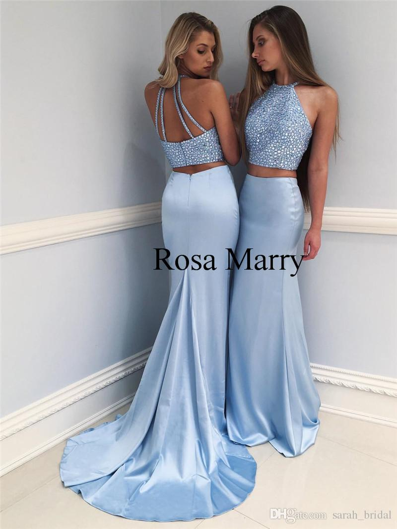 Luxury Crystals Two Pieces Mermaid Prom Dresses 2018 Light Blue Plus ...