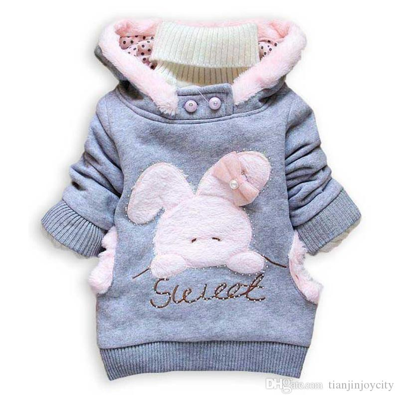 Baby Girls Clothes 2018 Children Cartoon Rabbits Outerwear Kids Winter Casual Hoodie Children Long Sleeve Warm Clothing 2-6Years