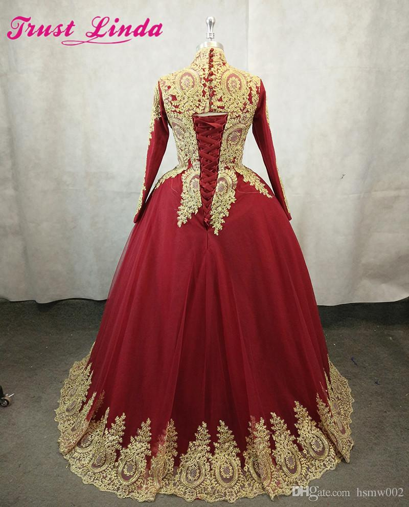 New Arrival High Neck Long Sleeves Ball Gown Evening Dresses Red Carpet Celebrity Dresses Gold Appliques Lace Up Prom Party Gowns