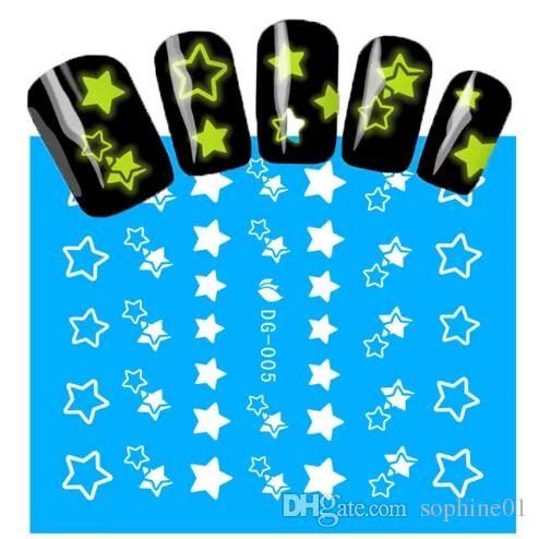 1Sheets NEW Luminous Nail Stickers Star Pattern Glitter Nail Art Decals Manicure Tips Decoration DIY Fashion Accessories
