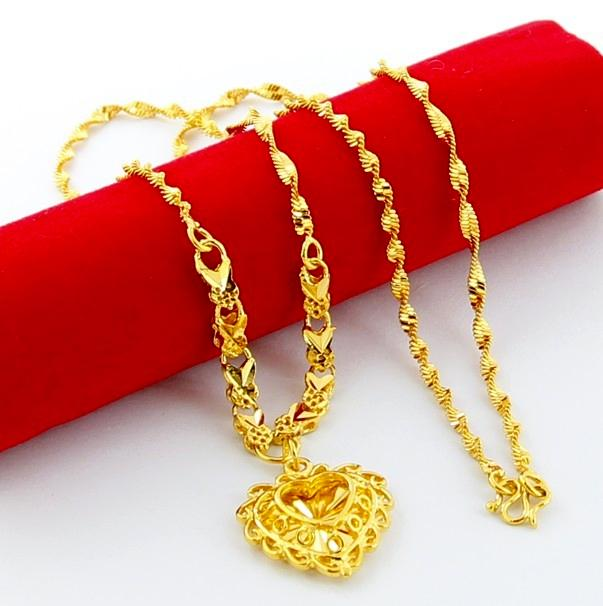 24K Pure Gold Necklace Exquisite  Hollow Heart Pendant with Link Chain for Women Wedding Retro Jewelry Accessories