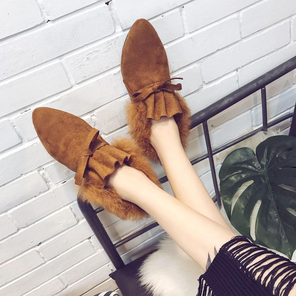 0c5b82418fe Pointed Toe Bow Lace Up Ankle Booties Woman Soft Bottom Comfort Low Heel  Cotton Snow Bottine Woman Short Botas Winter Shoes Slipper Boots Ankle  Booties From ...