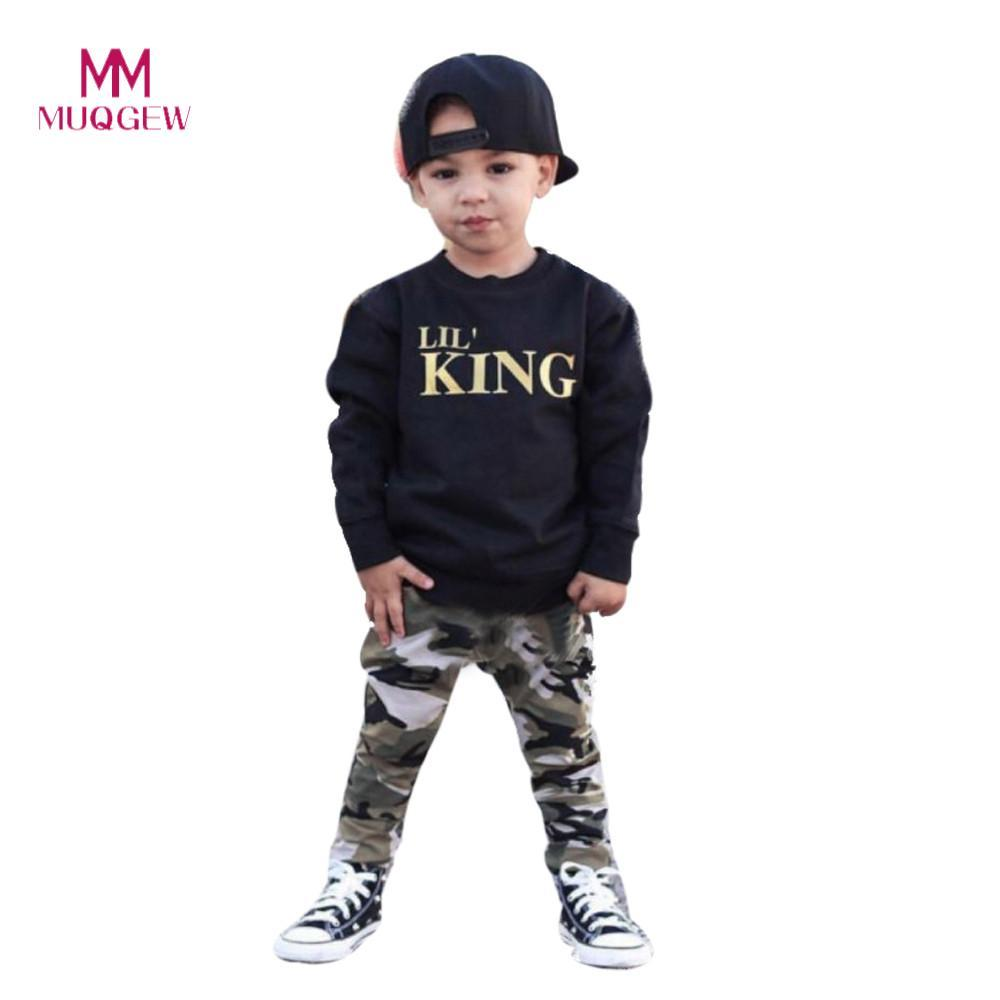 74fe8fe6602de Child Boys Clothes Set Long Sleeve Letter Print T-shirt Tops+Camouflage  Pants Outfits Clothes Set For 1-5 Years Olds Kids Boys