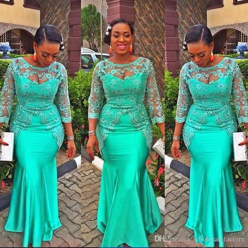 터키석 아프리카 인어 이브닝 드레스 빈티지 레이스 나이지리아 긴 소매 Pelum 댄스 파티 드레스 아소 Ebi 스타일의 저녁 파티 가운