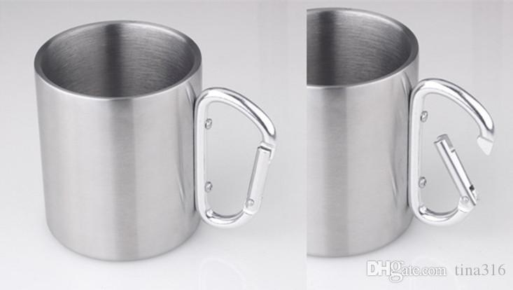 Hot Outdoor Camping Cup Tazza da caffè in acciaio inox 280ml Moschettone gancio doppia parete tazze bicchiere d'acqua T1I183