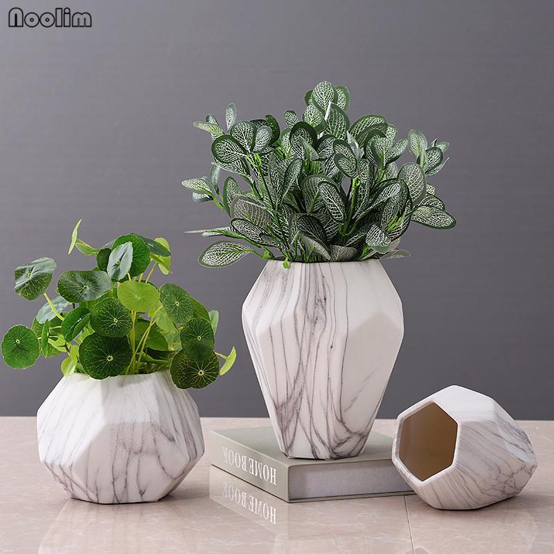 Noolim Marble Paern Home Decor Flower Pots Ceramic Vases Marble