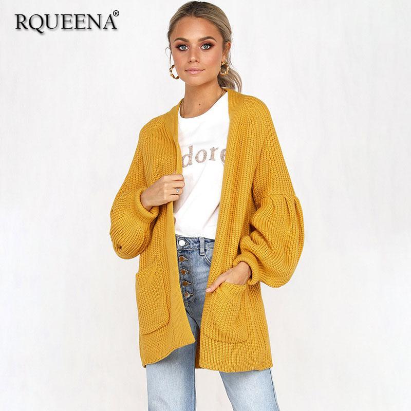 купить оптом европейский стиль осень зима мода желтый кардиган