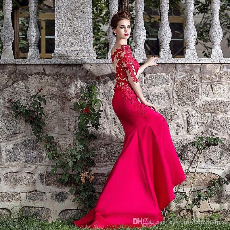 vestido de festa sleeves Floor Length red long mermaid Evening Dress 2018 new hot sexy lace appliques Formal Evening gown