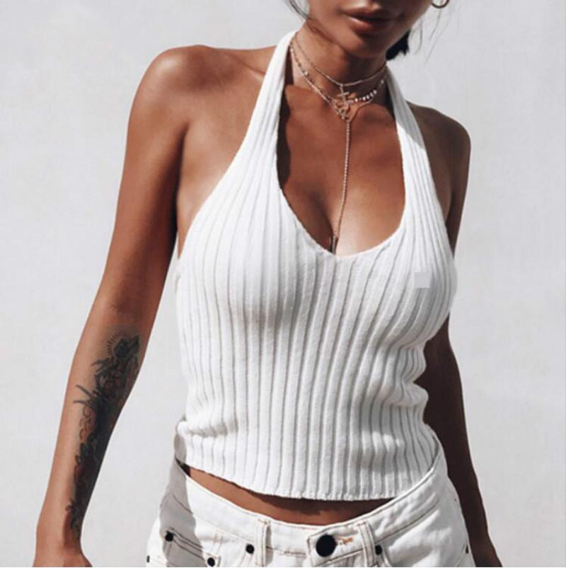 c1ac35d2af5 2019 White Halter Knitted Low Back Tank Top Summer Deep V Neck Streetwear  Fashion 90s Cool Basic Tops For Women Clothing From Lookpack, $20.76    DHgate.Com