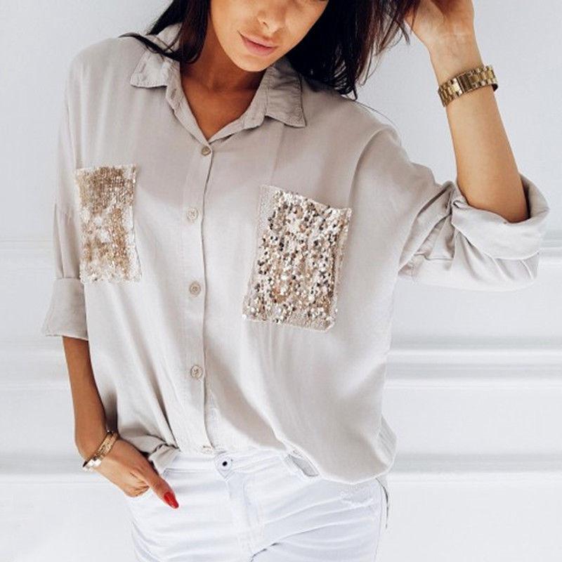classic fit 9859f 462bd Vestiti alla moda per le donne Tasche con bottoni Casual Maniche lunghe con  paillettes Camicie da uomo in cotone con collo scollato