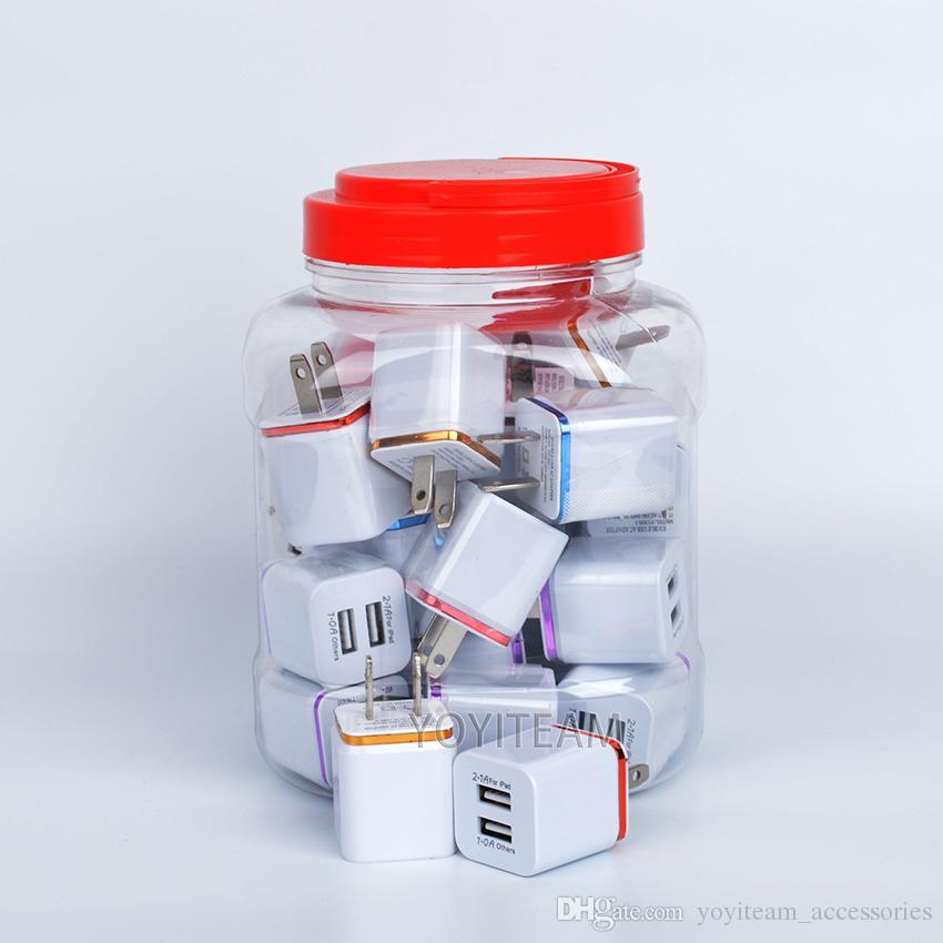2.1A doble cargador de pared usb en tarro de plástico cargador de cualquier teléfono móvil con adaptador de pared de marco colorido puerto de usb dos