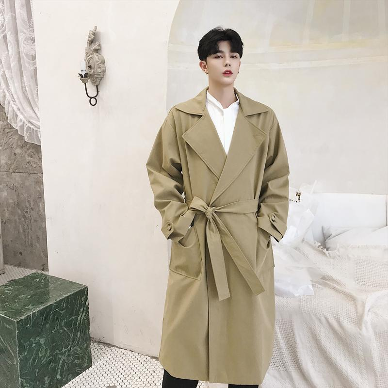 release date 003b8 4a324 Men Business Casual Trench Coat Long Overcoat Male Windbreaker Jacket  Spring Autumn Loose Outerwear Mens Clothes