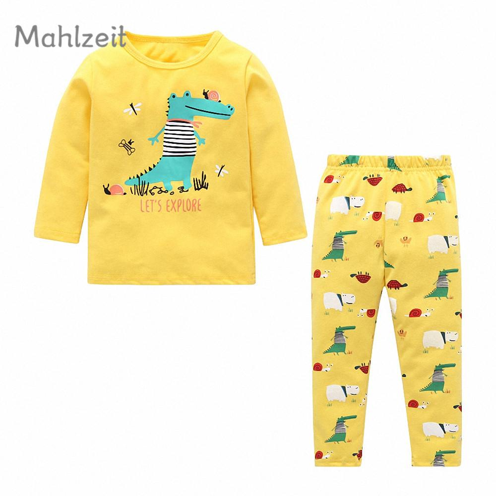 19b4c358d08c7 2019 Autumn 100% Cotton Children Warm Set 1 5T Baby Boy Girl Thick Pajama Clothes  Kids Long Sleeve Warm T Shirts + Pants Sets From Sophine14