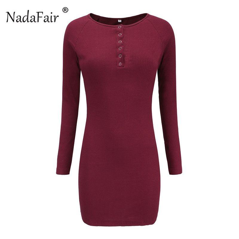 Nadafair Manches Longues En Tricot Dress Robe O Cou Noir À Tricoter Pull Mini Robes Casual Automne Hiver Robe Moulante Femmes