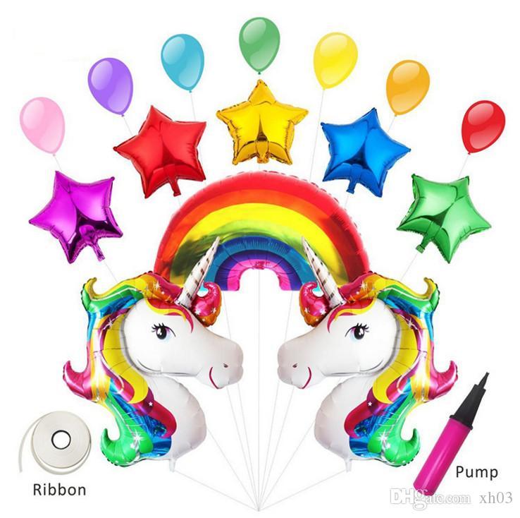15 Pcs Dos Desenhos Animados Do Arco íris Unicórnio Balão Festa De Aniversário Decoração Crianças Feliz Aniversário Carta Balões Unicórnio