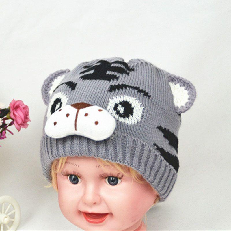 Großhandel Mode Herbst Winter Kinder Strickmütze Tier Tiger Muster ...