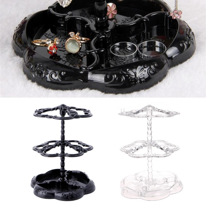 Retro Plastic Black White Rotating Eardrop Earring Jewelry Hard Display Stand Holder Jewelry Organizer Hard Display Stand