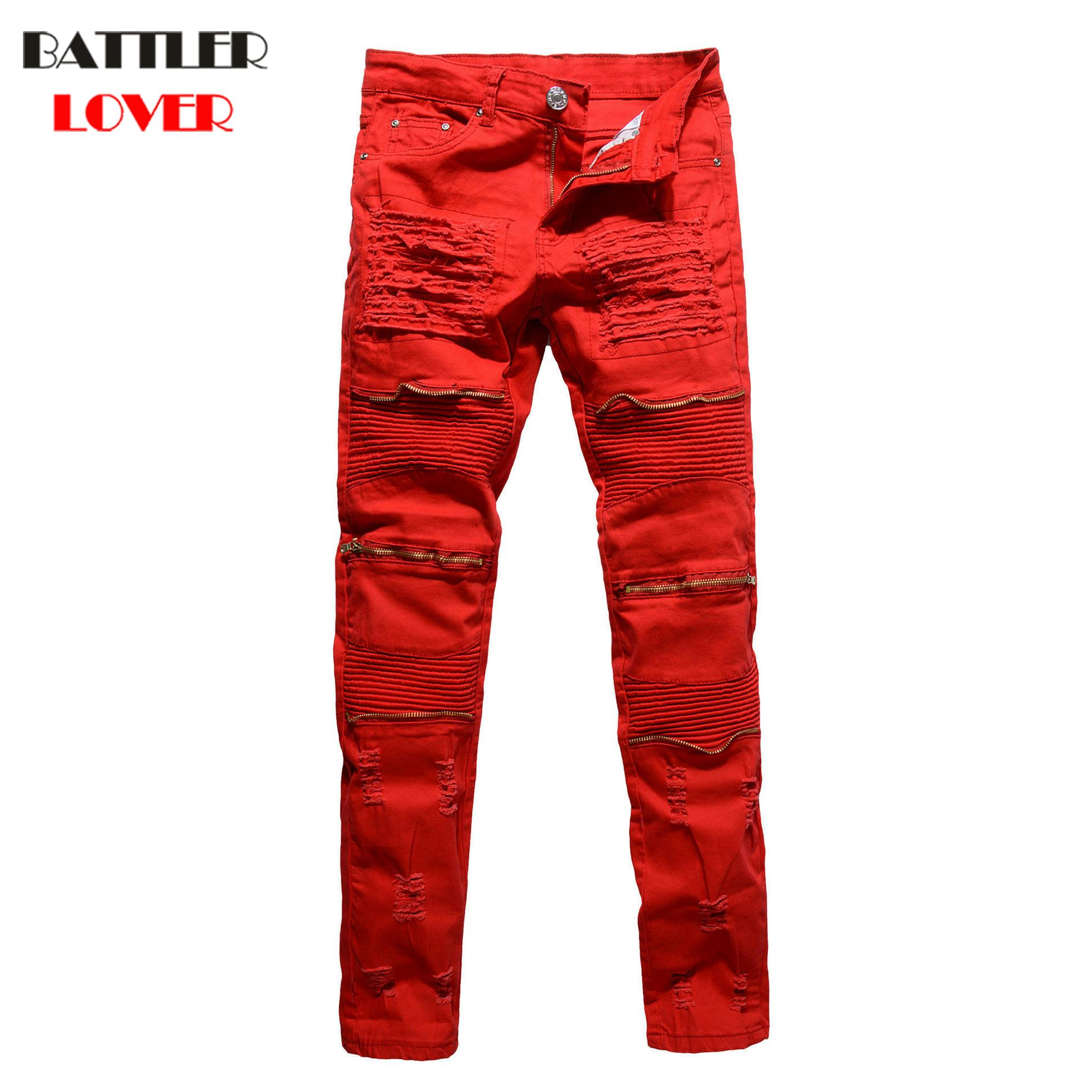 Discount Jeans Men Pants Fear God Trousers Denim Motorcycle Pant Boost Biker Man Masculina Pleated Zipper Skinny Slim Fit High Quality From China