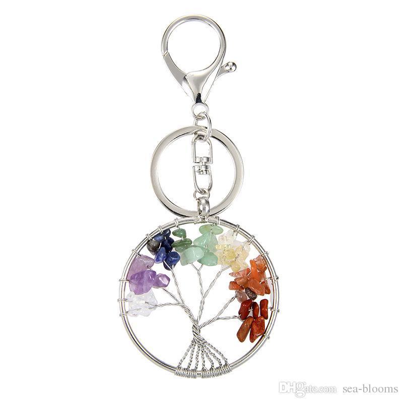 Natural Crystal Stone Tree of Life Pendant Handmade Keychains Key ... 8df8e565cf218