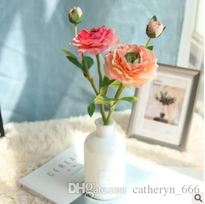 Mini Cute Camellia Tea Rose Flower Popular and Classic Design Shape Silk Ranunculus Artificial Flowers Spring Table Flower Arrangement