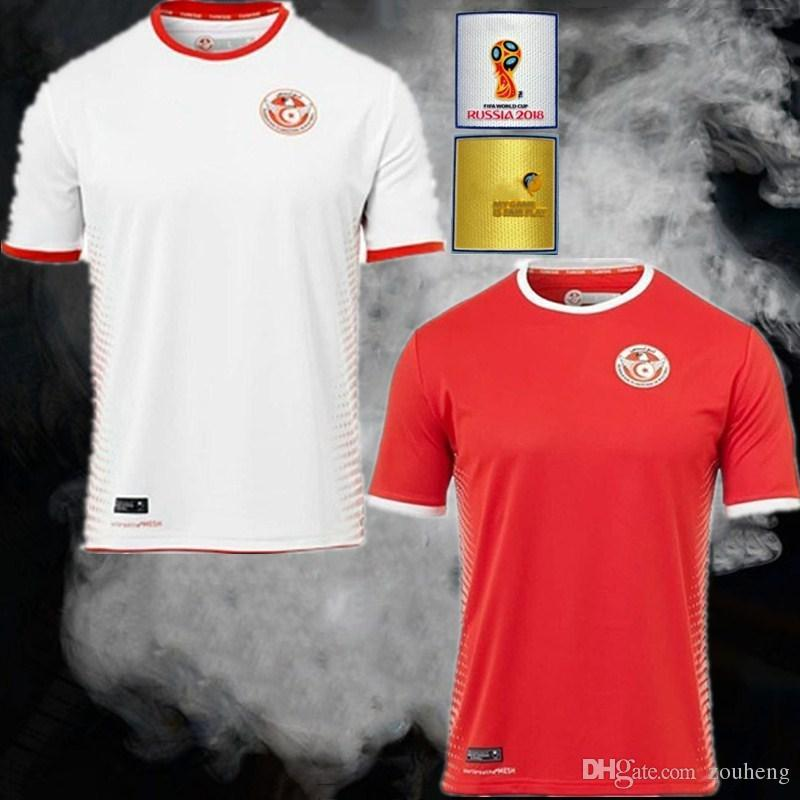 2018 World Cup Tunisia Socce Jerseys 1819 Tunisia National Football Team Home  Red Away White Msakni #7 Khazri #10 Sliti #23 Football Shirt Soccer Jerseys  ...