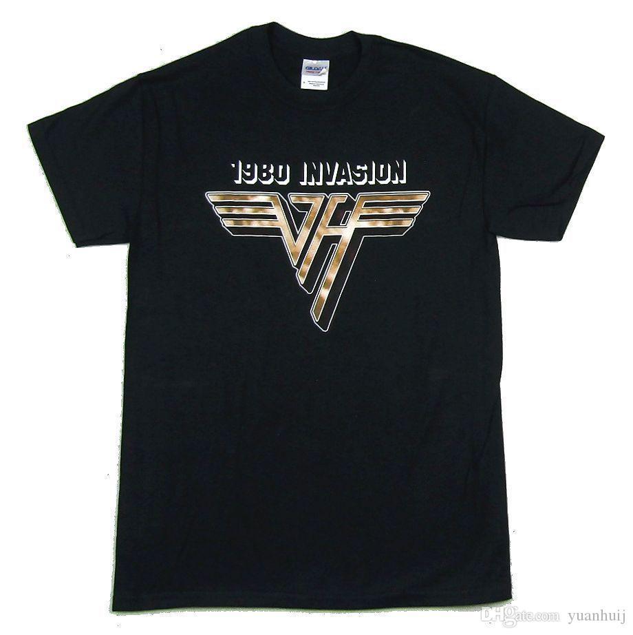 8d93e8e92 Compre Van Halen 1980 Invasão Preto Camiseta New Official Banda Merch  Reedição De Yuanhuij