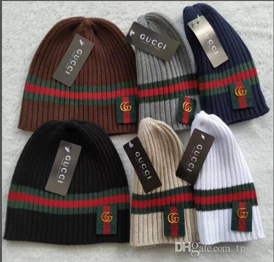 9919983bb92 Newest Europe Itly Unisex Autumn Winter Men G Gc Red Green Stripe Knitted  Hat Women Fashion Beanies Gorro Women Classic Outdoor Skull Caps Famous  Popular ...