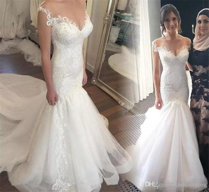 f780729c71f Vintage Mermaid Wedding Dresses Trumpet Illusion Off Shoulder Capped  Sleeves Beaded Sequined Lace Appliques Tulle Sweep Train Bridal Gowns Sexy Lace  Mermaid ...