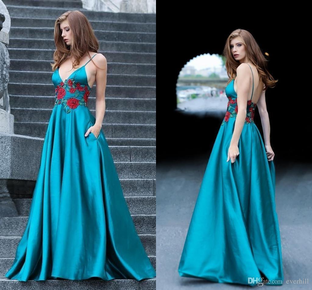 f8225e2f36a JaneVini 2018 Sexy Deep V Neck Prom Dresses Pockets Long Beaded Spaghetti  Straps Sleeveless Backless Formal Party Evening Dress Vestido Prom Buy Prom  ...