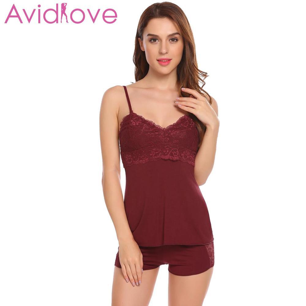 3ab0f02563 Avidlove Pajamas Sets For Women New Cotton Pijamas Spaghetti Strap  Nightwear Sleepwear Sexy Pajamas Pyjamas Women Homewear Y18101601 Bras And  Panty Sets ...