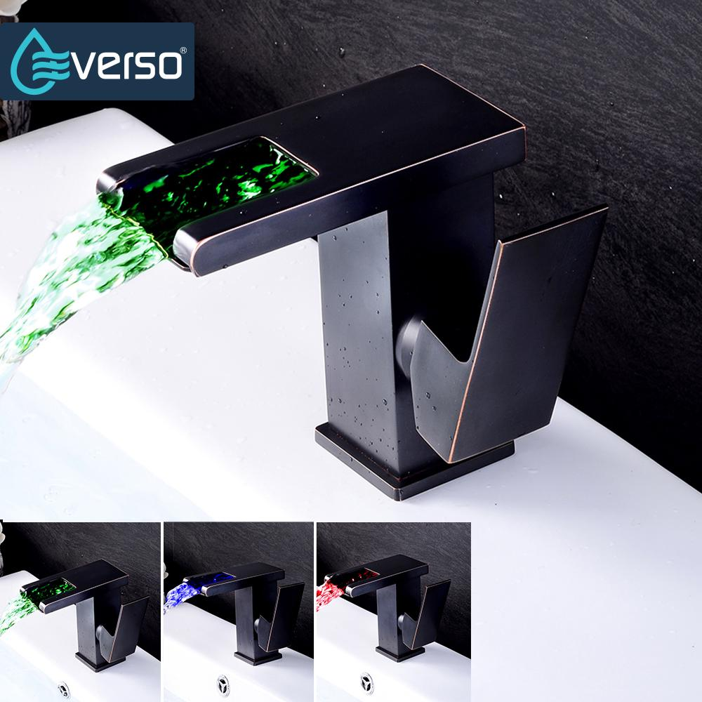 2018 Everso Black Led Faucet Waterfall Basin Sink Faucet Chrome ...
