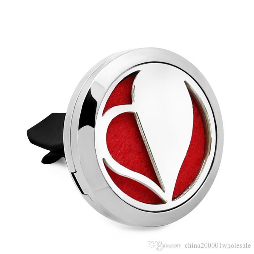 Новое прибытие! Любовь и сердце 30 мм Магнит духи из нержавеющей стали 316L автомобиль аромат эфирное масло автомобиля Vent клип с 10 шт. войлочные прокладки