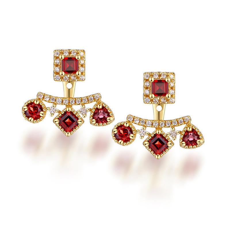 Star Jewelry 925 Silver Gem Earring Garnet Stud Earring 14k Gold ... 76828e250