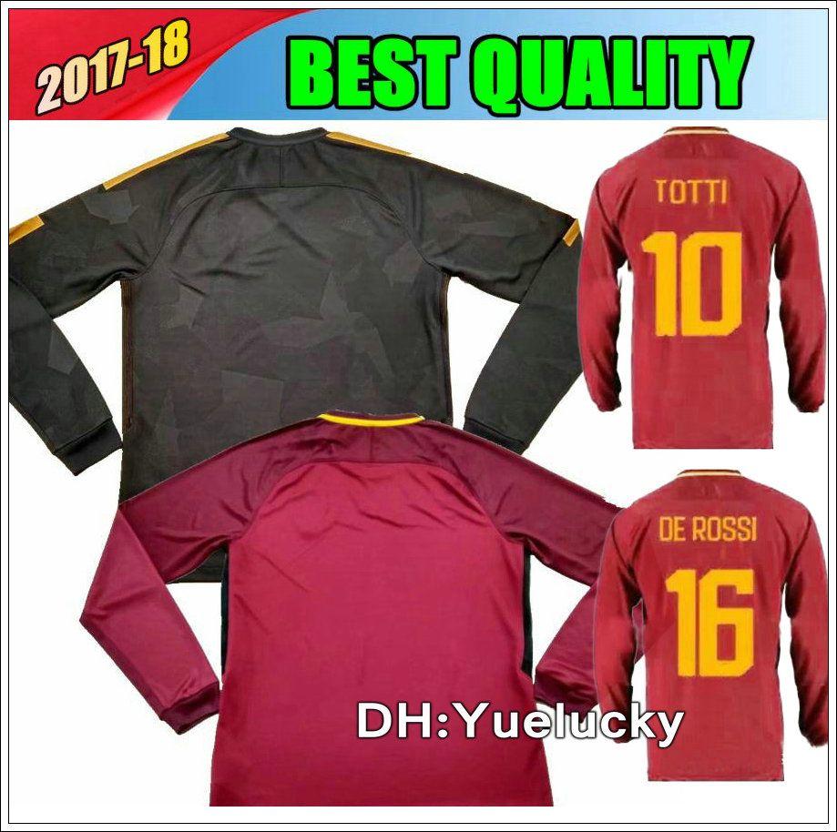 Compre 17 18 Totti Camisas De Futebol De Manga Comprida De Rossi Dzeko El  Shaarawy 2017 2018 Camisa De Futebol De Manga Comprida Totti De Yuelucky 16a58dc39eded