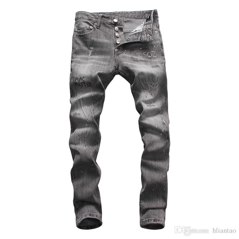 Compre Nueva Moda Para Hombre Negro Skinny Jeans Pantalones Hi Street Hip  Hop Swag Hombres Denim Joggers Pantalones Famosos Marca Diseñador Hombres  ... a3fbeb19eac