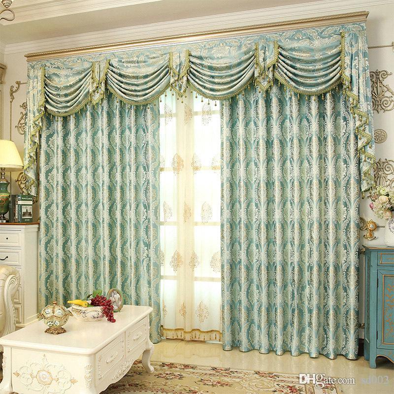 Romantische Fenster Vorhänge Hochwertigen Vorhang Wohnzimmer Abnehmbare  Elegante Vorhänge Verschlüsselung Goldene Seide Jacquard Weave 23lg ii