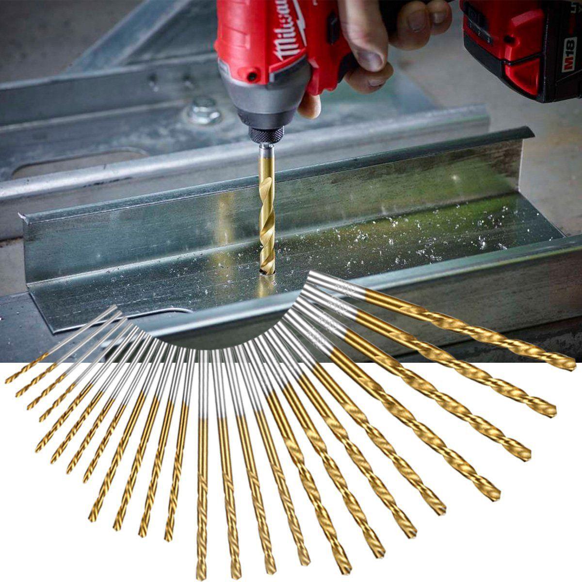 60 pz / set 1mm-3.5mm titanium rivestito in acciaio ad alta velocità drill bit manuale punte elicoidali codolo cilindrico trapano parti di riparazione strumento