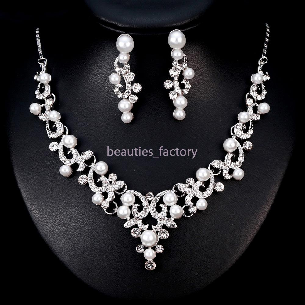 0ccb59260 Bridal Wedding Jewelry Artificial Pearl Crystal Rhinestone Necklace Earring  Sets Wedding Party Jewelry Accessories BA182 New Wedding Bride Jewelry  Wedding ...