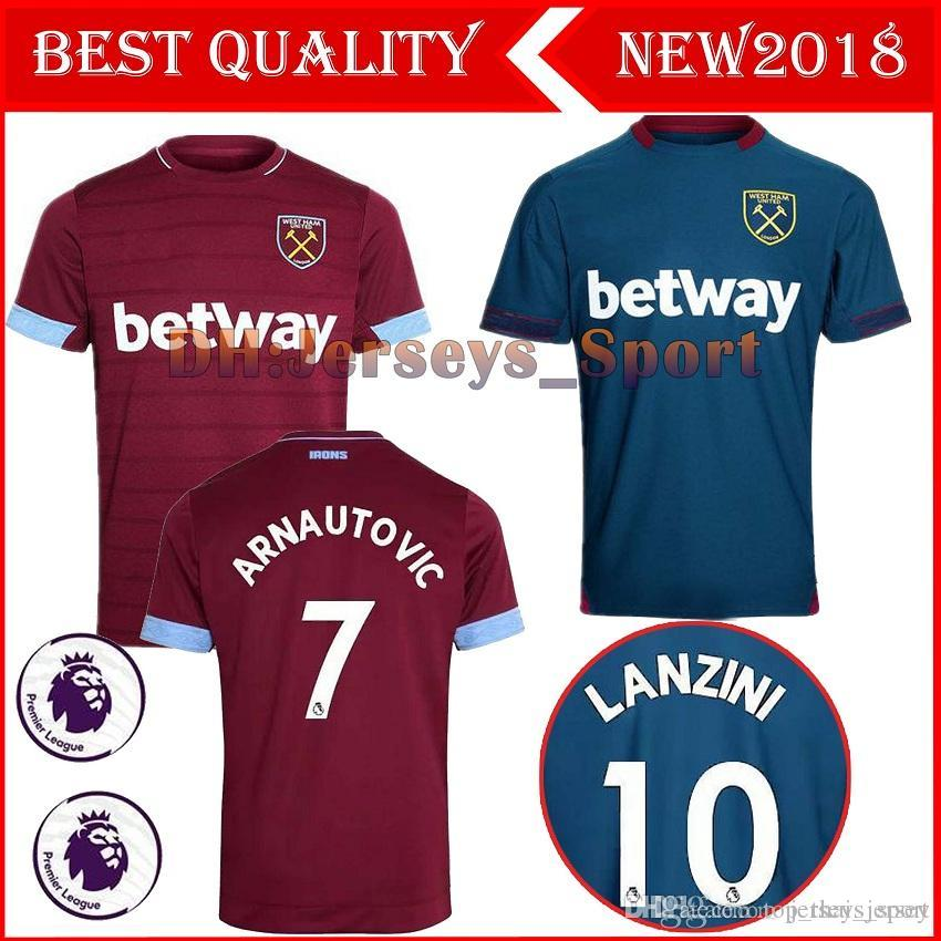 2018 2019 New West Ham United Camiseta De Fútbol Local 18 19 Calidad  Tailandesa CHICHARITO CARROLL SAKHO AYEW Camiseta De Fútbol Por  Top thai jersey b9859e19ec11d