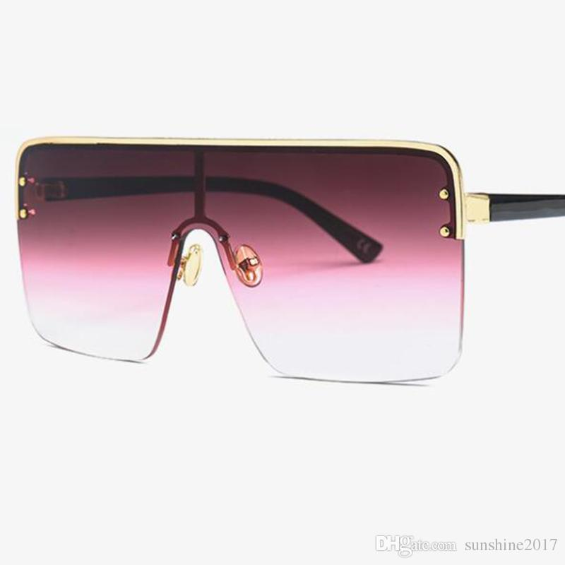29e76ea1169 Oversized Flat Top Sunglasses Women S Fashion Square Sunglasses Men Gold  Mirror Shield Vintage Brand Designer Large Metal Frame Shades UV400 Dragon  ...