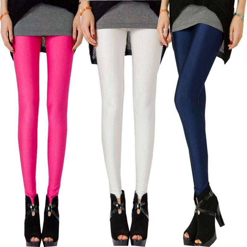 c45fc498b352ec 2019 Sexy 2018 Women Summer Navy Blue Wine Black Shiny Leggings Large Size  Neon Elastic Silk Stretch Skinny Slim Active Leggings From Wanglon02, ...