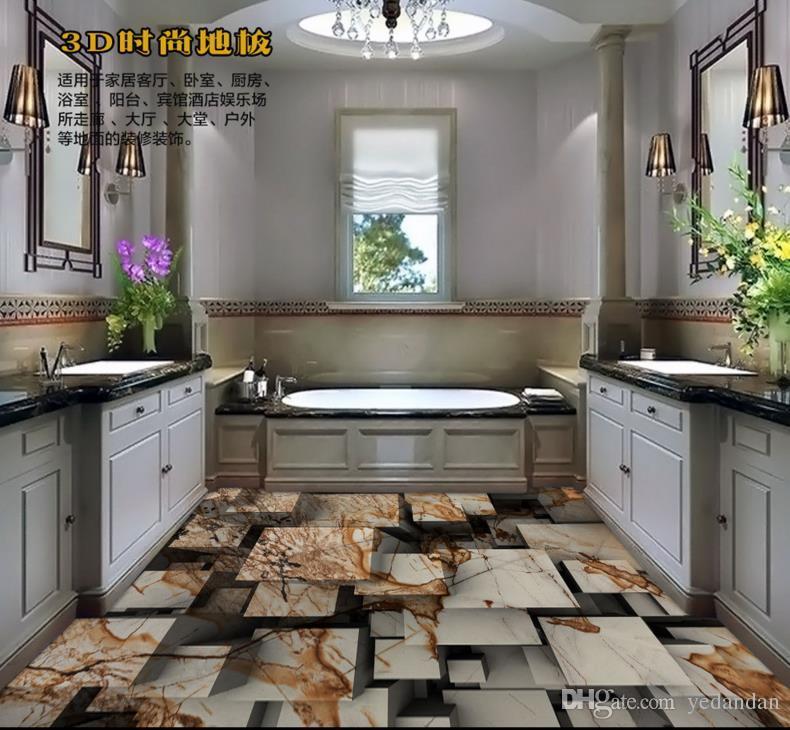 anpassen 3D-Bodenbelag Marmor Textur Tapete 3D Boden Wandmalereien Küche  Vinyl Tapete 3D stereoskopische Tapete