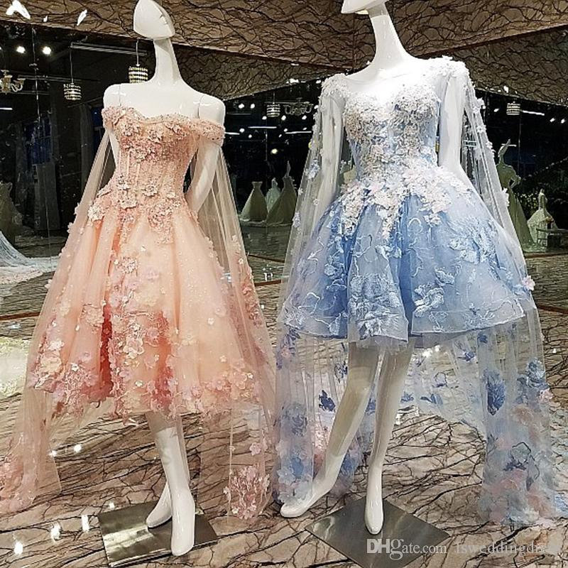 eae37c2ca5 2019 Latest Hi-Lo Elegant Prom Dresses Long Lace Veil Sleeveless Backless  Lace Up Back Sweetheart Neck Hand Made 3D Flower Evening Gowns