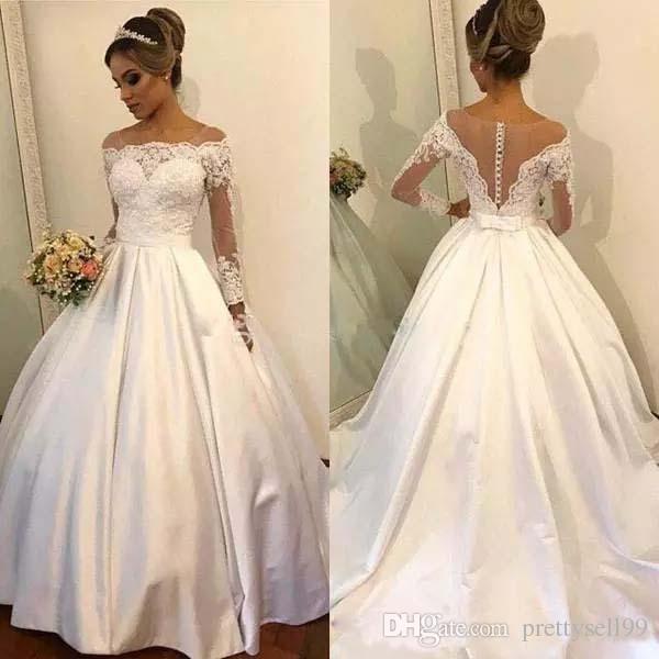compre vestidos de novia de encargo del vestido de bola del cordón