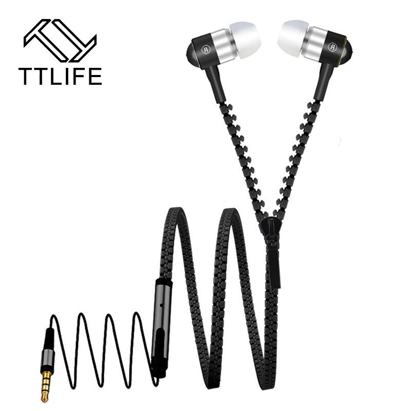 Ttlife Cheap Zipper Cable Earphone Metal Earbud With Microphone