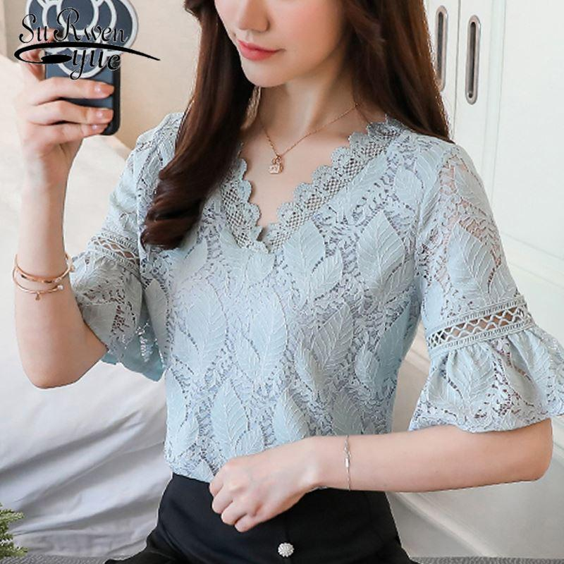 9976c7bb8c831c 2019 New Fashion Lace Women'S Clothing 2018 Summer Short Sleeve Women'Tops  V Neck Blue Plus Size Women Shirt Blouse Blusas D684 30 From Lin_and_zhang,  ...