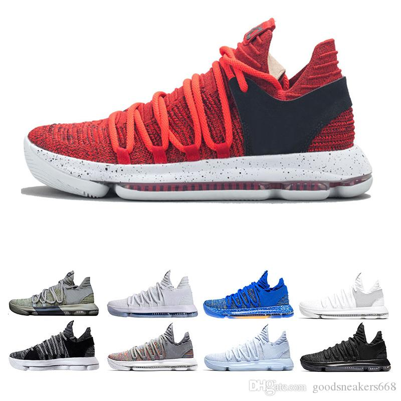 new styles d8f00 38aec KD 10 Anniversary PE BHM Oreo Triple Black Men Basketball Shoes KD 10s  Elite Low Kevin Durant Athletic Sport Outdoor Sneakers Basketball Shoes Men  Shoes ...