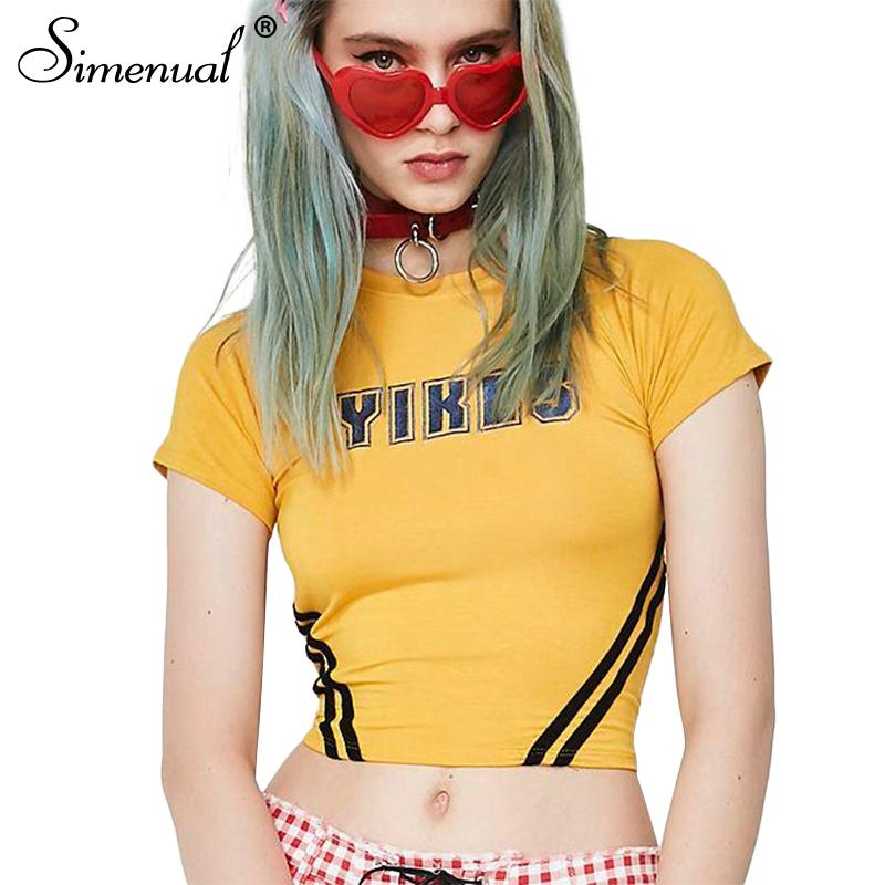 Simenual Letter print striped t shirt women summer clothing slim sexy crop top yellow female t-shirt short sleeve tees shirts