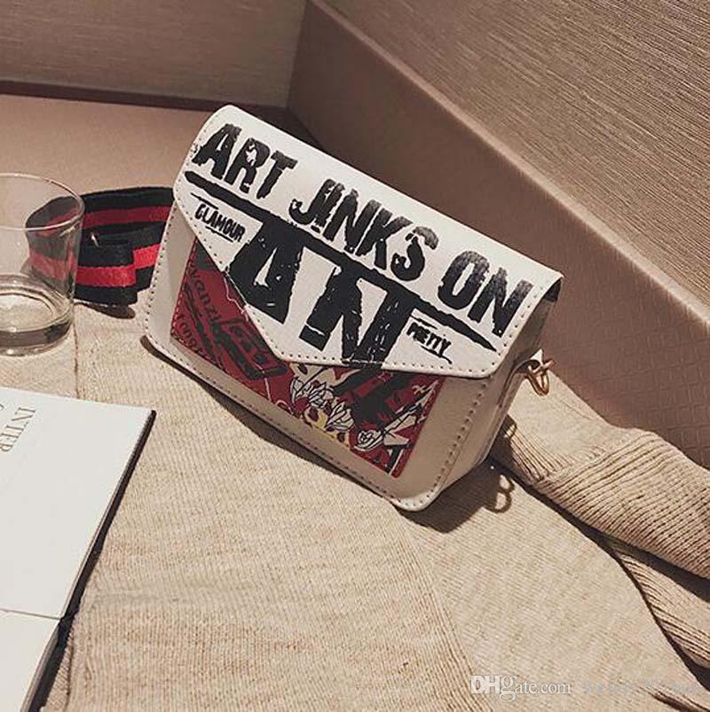 donne lettera stampata personalizzabile hip-hop borsa a tracolla alla moda flap 2017 signore i hasp borse a tracolla la festa