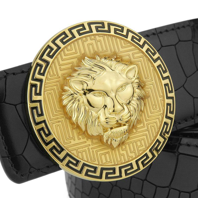 High Quality Copper Buckle Lion Belt Men Full Grain